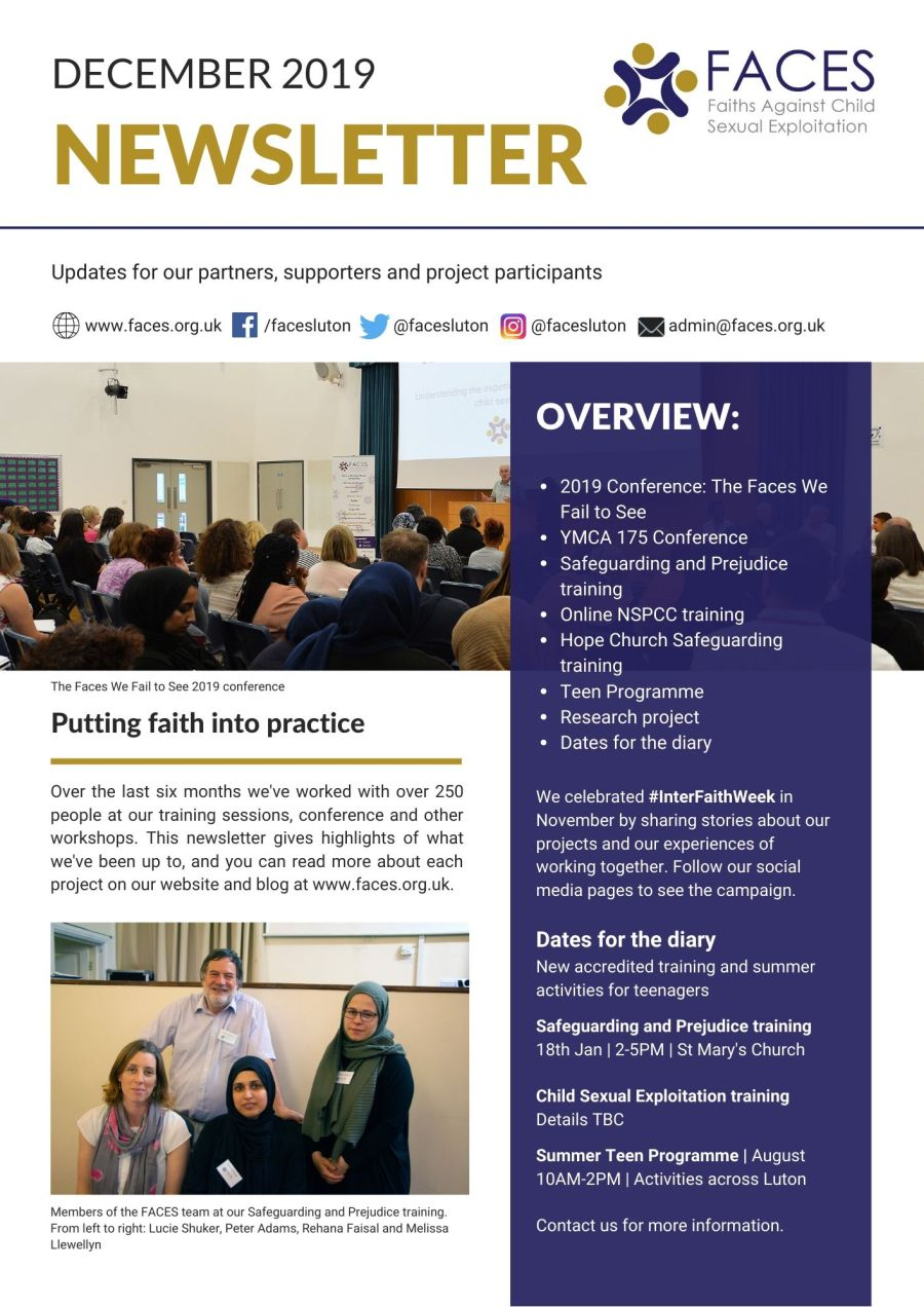 faces luton december newsletter safeguarding